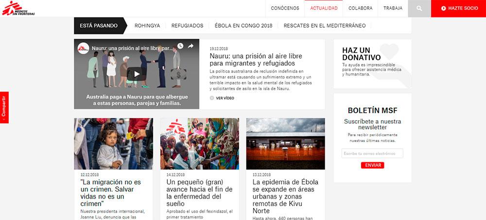 Página web - Médicos sin Fronteras
