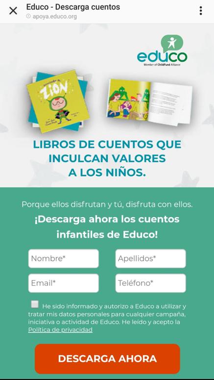 ejemplo landing page anuncio redes sociales educo